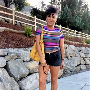 Trendy boutique Tops - Purple and black short sleeve striped ribbed top